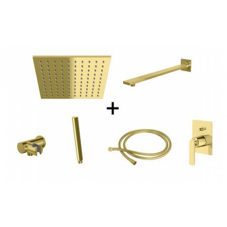 Kohlman Experience Gold Zestaw prysznicowy podtynkowy z deszczownicą 25x25 cm złoty QW210EGDQ25