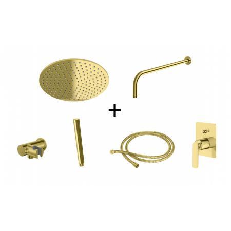 Kohlman Experience Gold Zestaw prysznicowy podtynkowy z deszczownicą 30 cm złoty QW210EGDR30