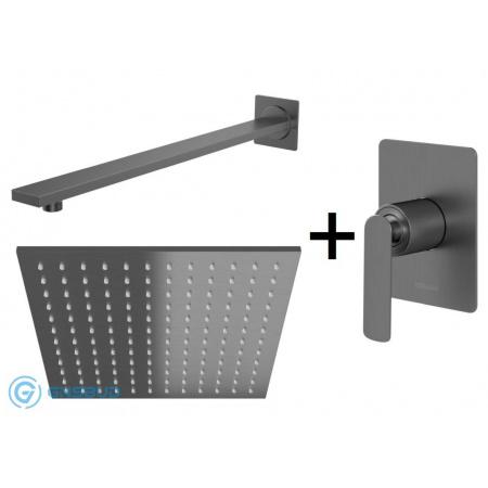 Kohlman Experience Gray Zestaw prysznicowy podtynkowy z deszczownicą 25x25 cm, szczotkowany grafit QW220EGQ25