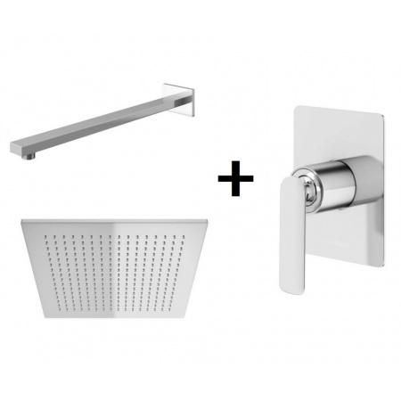 Kohlman Experience Zestaw prysznicowy podtynkowy z deszczownicą kwadratową 30x30 cm, chrom QW220EQ30