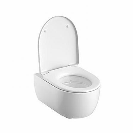 Koło Modo Pure Oval Set Zestaw Toaleta WC podwieszana 53x35,5 cm Rimfree bez kołnierza z deską wolnoopadającą Duroplast biała L39123000