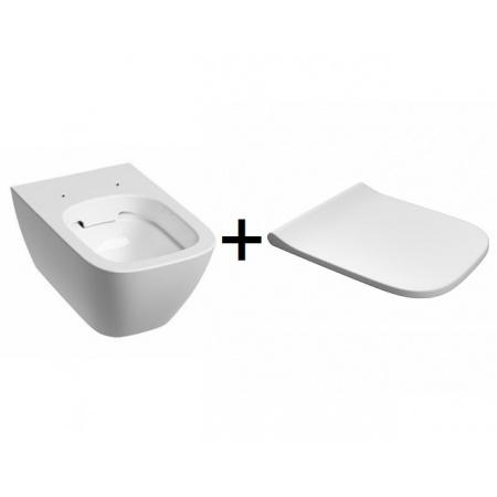 Koło Modo Pure Zestaw Toaleta WC podwieszana 54x35 cm Rimfree bez kołnierza z deską wolnoopadającą biały L33123000+L30112000