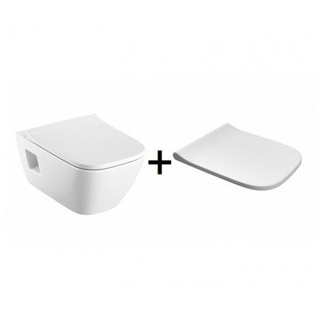 Koło Modo Zestaw Toaleta WC podwieszana 54x35 cm Rimfree bez kołnierza z powłoką Refleks z deską wolnoopadającą biały L33120900+L30112000