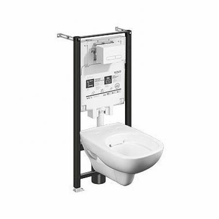 Koło Slim2 Style Zestaw Toaleta WC podwieszana krótka 51x35,6 cm Rimfree bez kołnierza ze stelażem biała 99649000