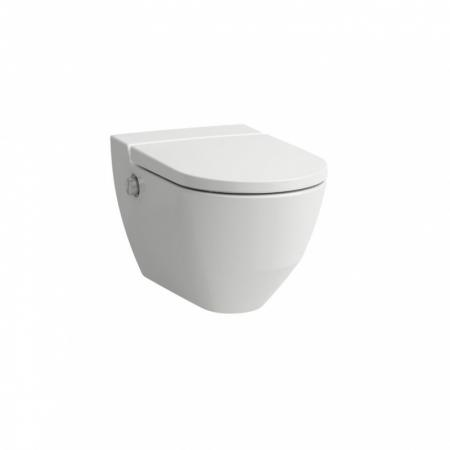 Laufen Cleanet Navia Toaleta myjąca podwieszana 58x37 cm Rimless bez kołnierza z deską wolnoopadającą i szkliwieniem LCC biała H8206014000001