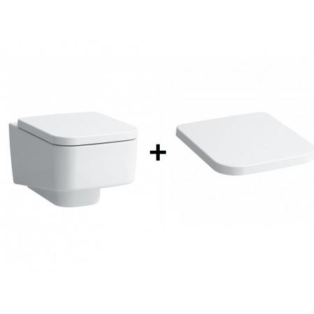 Laufen Pro S Zestaw Toaleta WC podwieszana 54x36x35 cm Rimless bez kołnierza ze szkliwieniem LCC z deską sedesową wolnoopadającą, biały H8209624000001+H8919610000001
