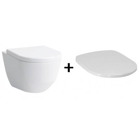 Laufen Pro Zestaw Toaleta WC podwieszana 49x36 cm Rimless bez kołnierza z deską sedesową wolnoopadającą, biały H8209650000001+H8969513000001