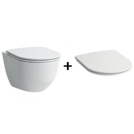 Laufen Pro Zestaw Toaleta WC podwieszana 49x36 cm Rimless bez kołnierza z deską sedesową wolnoopadającą Slim, biały H8209650000001+H8989660000001
