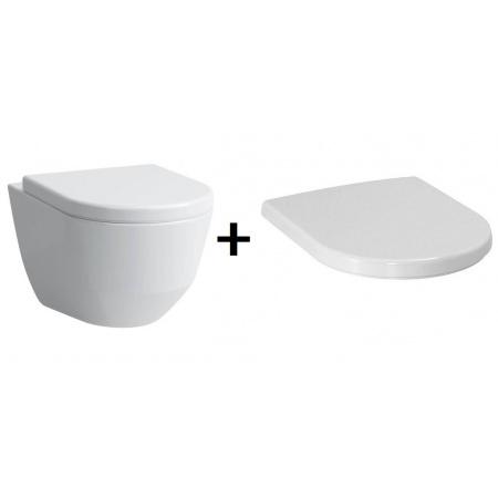 Laufen Pro Zestaw Toaleta WC podwieszana 53x36 cm Rimless bez kołnierza z deską sedesową wolnoopadającą, biały H8209664000001+H8969513000001