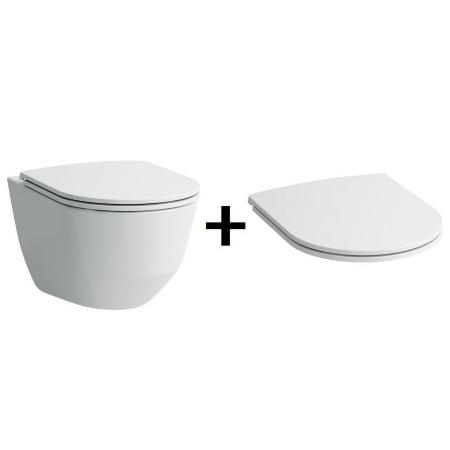Laufen Pro Zestaw Toaleta WC podwieszana 53x36 cm Rimless bez kołnierza z deską sedesową wolnoopadającą Slim, biały H8209664000001+H8989660000001