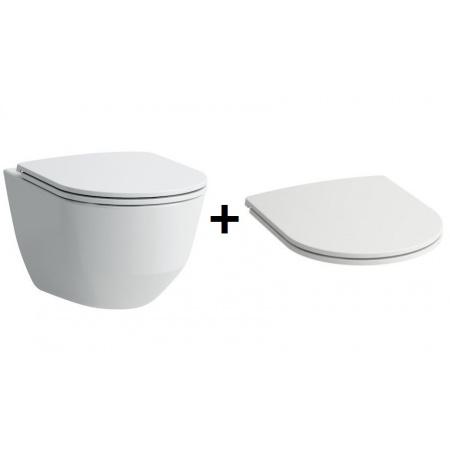 Laufen Pro Zestaw Toaleta WC podwieszana 53x36 cm Rimless bez kołnierza z deską sedesową wolnoopadającą Slim, biała H8669560000001