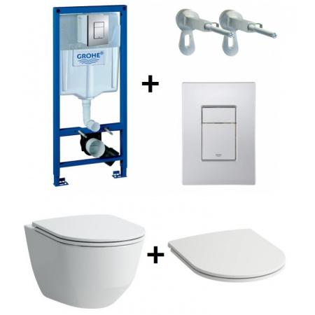 Laufen Pro Zestaw Toaleta WC podwieszana 53x36 cm Rimless bez kołnierza z deską sedesową wolnoopadającą Slim i stelażem Grohe Rapid SL 3w1, biały H8209660000001+H8989660000001+38772001