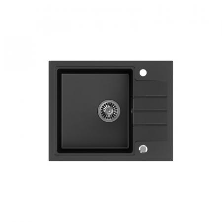 Legersen Tarda Zlewozmywak granitowy jednokomorowy 62x50 cm czarny mat LETA002BLM