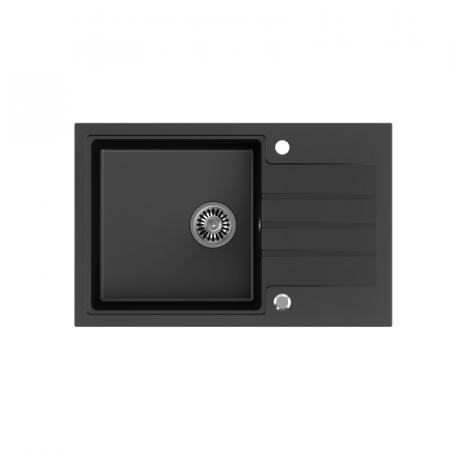 Legersen Tarda Zlewozmywak granitowy jednokomorowy 78x50 cm czarny mat LETA001BLM