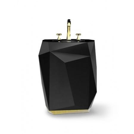 Maison Valentina Diamond Umywalka wolnostojąca 86x48x70 cm, czarna MVDIAMUMYWOLNCZA