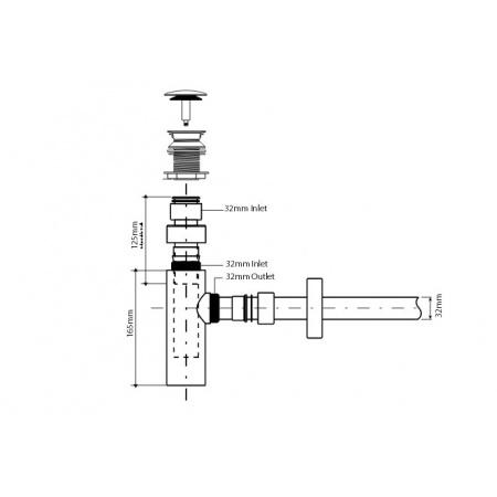 Marmorin Pół syfon ze spustem klik-klak, chrom ZCC