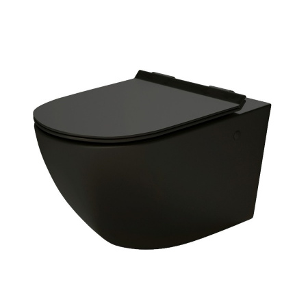 Massi Decos Black Toaleta WC podwieszana 55x36 cm Rimless bez kołnierza z deską wolnoopadającą Slim czarny mat MSM-3673RIMSLIM-MB