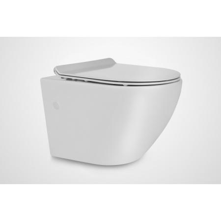 Massi Decos Mini Slim Toaleta WC podwieszana 48,5x37,5 cm Rimless bez kołnierza z deską sedesową wolnoopadającą Slim, biała MSM-0003SLIM