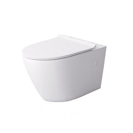 Massi Decos Toaleta WC podwieszana 55x36 cm Rimless bez kołnierza z deską sedesową wolnoopadającą Slim biała MSM-3673RIMSLIM