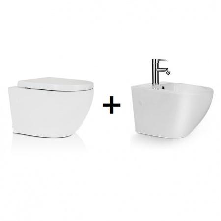 Massi Decos Zestaw Toaleta WC podwieszana 55x36 cm z deską sedesową wolnoopadającą i bidetem podwieszanym, biały MSM-3673DU+MSB-31673