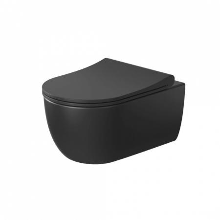 Massi Molis Black Toaleta WC podwieszana 54x35 cm Rimless bez kołnierza z deską wolnoopadającą Slim czarny półmat MSM-0013RIMSLIM-MB
