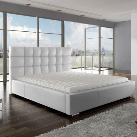 New Composition Factory Anette Kompletne łóżko z pojemnikiem i materacem 140x200 cm, białe 10268