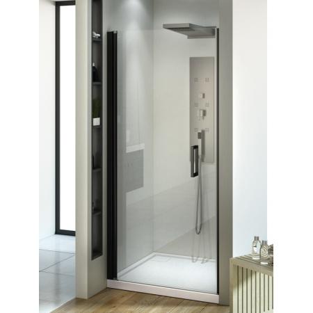 New Trendy Negra Drzwi wnękowe 90x195 cm z powłoką Active Shield, profile czarne szkło przezroczyste EXK-1128