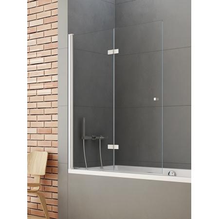 New Trendy New Soleo Parawan nawannowy 120x140 cm z powłoką Active Shield, profile chrom szkło przezroczyste P-0031