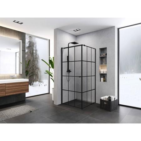 New Trendy Superia Black Kabina kwadratowa 90x90x195 cm lewa profile czarne szkło przezroczyste K-0598