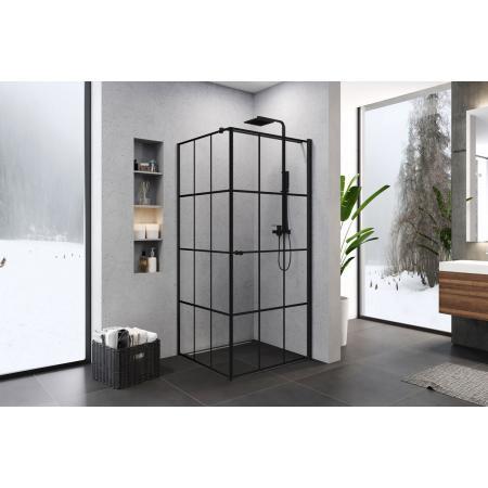 New Trendy Superia Black Kabina kwadratowa 90x90x195 cm prawa profile czarne szkło przezroczyste K-0605