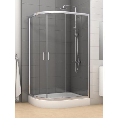 New Trendy Varia Kabina prysznicowa półokrągła 100x80x185 cm z powłoką Active Shield, profile chrom szkło przezroczyste K-0203