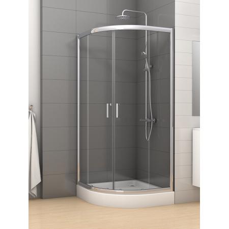 New Trendy Varia Kabina prysznicowa półokrągła 80x80x185 cm, profile chrom szkło grafit K-0187