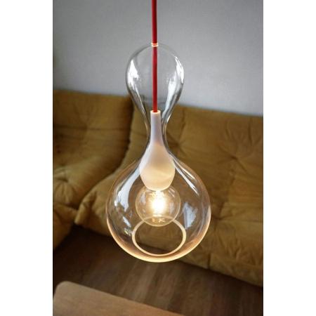 Next Blubb Clear/Opal Lampa wisząca 41x22 cm IP30, kabel czerwony, opal 1020-20-1131