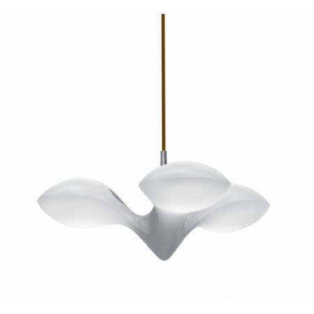 Next Enterprise Lampa wisząca IP40, biała, miedziana, pierścień drewniany 1060-10-1403
