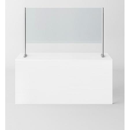 Novellini BeSafe Wall V2 Ekran ochronny na ladę 120x85 cm profile białe szkło satynowe BSAFEV2B120-4A