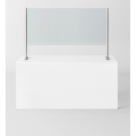 Novellini BeSafe Wall V2 Ekran ochronny na ladę 120x85 cm profile czarne szkło przezroczyste BSAFEV2B120-1H