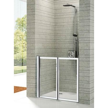 Novellini Friend 2 Drzwi prysznicowe składane 72-78x85 cm do wnęki niskie, profile białe szkło przezroczyste FREE2P72B-1A