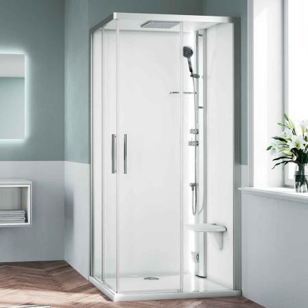 Novellini Glax 1 2.0 2P Sauna parowa 120x80x210 cm, wersja lewa, profile srebrne szkło przezroczyste G212P120SM5-1BB