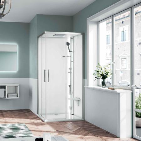 Novellini Glax 1 2.0 A Sauna parowa 100x100x210 cm, profile srebrne szkło przezroczyste G21A100M5-1BB