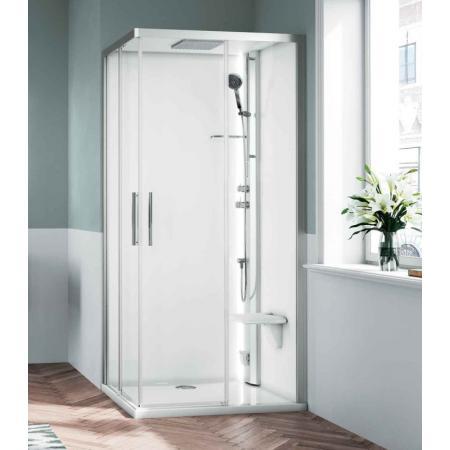 Novellini Glax 1 2.0 A Sauna parowa 100x100x210 cm, profile srebrne szkło przezroczyste G21A100T5-1BB