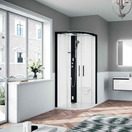 Novellini Glax 1 2.0 R Sauna parowa 90x90x210 cm, profile srebrne szkło przezroczyste G21R90T5-1BB