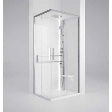 Novellini Glax 2 2.0 A Hydro Kabina parowa 90x90x217 cm, profile srebrne szkło przezroczyste G22A99T1-1BB