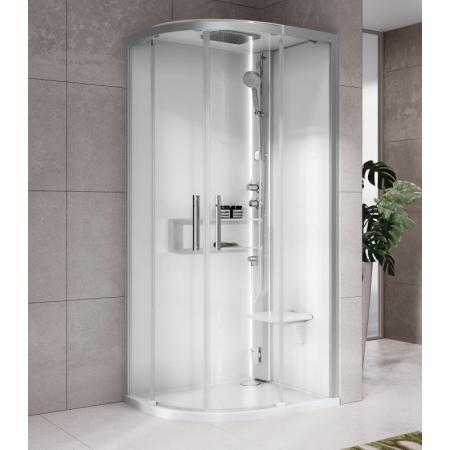 Novellini Glax 2 2.0 R Hamman Kabina parowa 100x100x210 cm, profile srebrne szkło przezroczyste G22R100M5-1BB