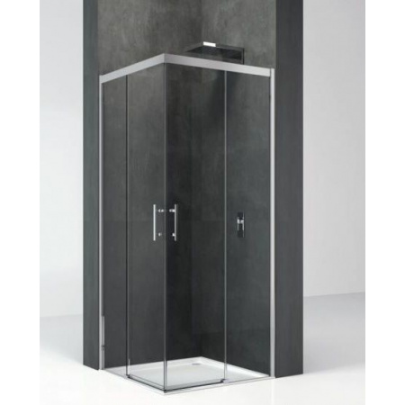 Novellini Kali Kabina prysznicowa narożna 67-68,5/195cm, drzwi suwane, profil srebrny, szkło przeźroczyste KALIAH66L-1B