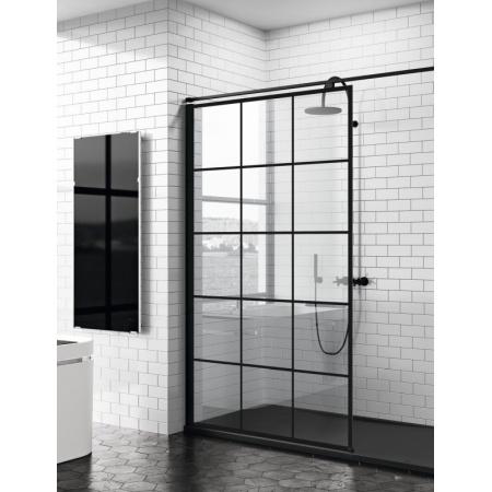 Novellini Kuadra H Ścianka prysznicowa Walk-In 77-80x200 cm, profile czarne szkło przezroczyste KUADH80-81H