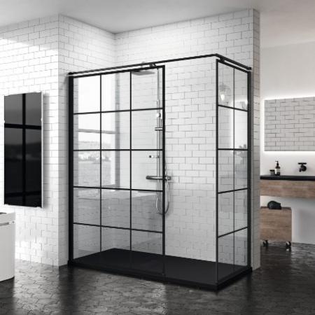 Novellini Kuadra H Squares Kabina prysznicowa walk-in 77-80x200 cm szkło przezroczyste kwadraty, profile czarne matowe KUADH80-81H