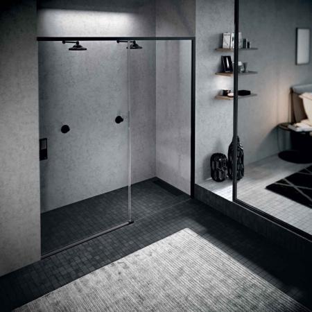 Novellini Opera 2PH Drzwi prysznicowe przesuwne 117-120x200 cm lewe, profile czarny mat szkło przezroczyste OPE2PH117S-1H