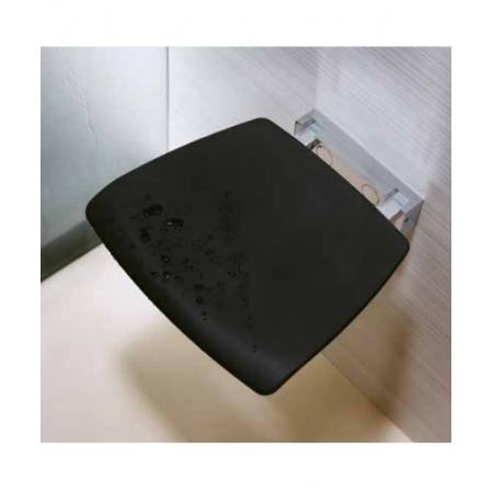Novellini Siedzisko prysznicowe składane z tworzywa z powierzchnią antypoślizgową, czarne SED02QFM-H