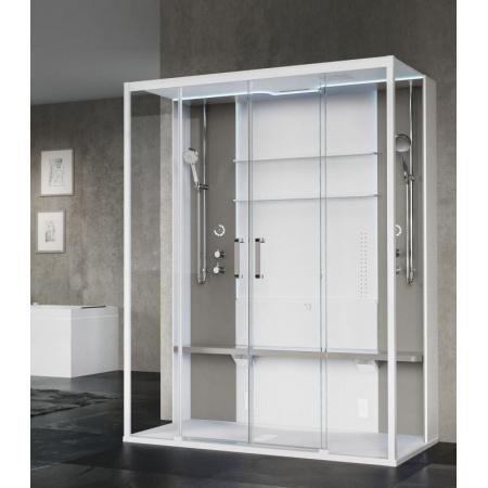 Novellini Skill Dual Kabina prysznicowa 160x97x211 cm wielofunkcyjna z sauną parową przyścienna, biały mat SKI2A160T51UU