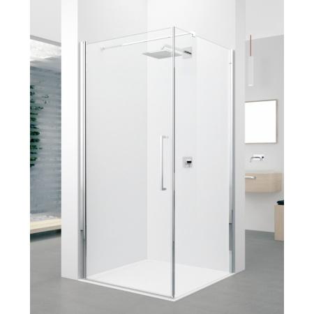 Novellini Young 2.0 G+F Kabina prysznicowa narożna 90x90x200 cm - drzwi jednoskrzydłowe i ścianka boczna stała, profile chrom szkło przezroczyste Y2G89-1K+Y2FG89-1K